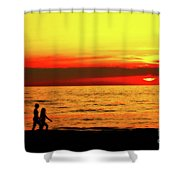 Erie Beach Sunset Shower Curtain