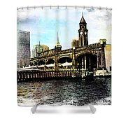Erie Lakawanna Ferry And Train Station Shower Curtain