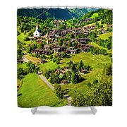 The Alpine Village Of Ernen In Switzerland  Shower Curtain