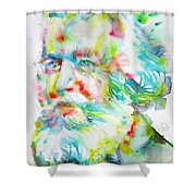 Ernst Haeckel - Watercolor Portrait Shower Curtain