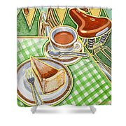 Eroica Britannia Bakewell Pudding And Cup Of Tea On Green Shower Curtain