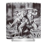 Erotic Drawing Three Shower Curtain