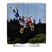 Escaping Motorbike Shower Curtain