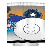 Eskimo And Snowflakes Graphic Shower Curtain