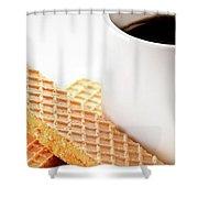 Espresso And Lemon Wafer Shower Curtain