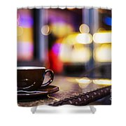 Espresso Coffee Cup In Cafe At Night Shower Curtain