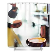 Espresso Expresso Italian Coffee Cup With Machine  Shower Curtain