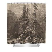 Essais De Gravure ? L'eau Forte Par Alexandre Calame, I, Pl. 21 Shower Curtain