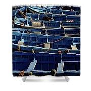 Essaouira Blue Boats Shower Curtain