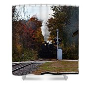 Essex Steam Train Coming Into Fall Colors Shower Curtain