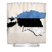 Estonia Map Art With Flag Design Shower Curtain