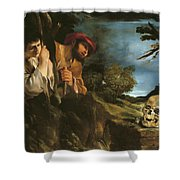 Et In Arcadia Ego Shower Curtain by Giovanni Francesco Barbieri