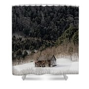 Ethereal Barn In Winter Shower Curtain