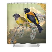 Ethereal Birds On Snowy Branch Shower Curtain