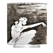Ethereal Black And White Ballerina Poster 4  - By Diana Van Shower Curtain