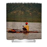 Ethiopia  Baiting A Longline On Lake Chamo Shower Curtain