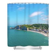 Etretat From Above, France Shower Curtain