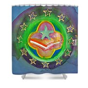 Euro Star And Stripes Shower Curtain