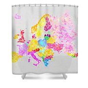 Europe Map Shower Curtain by Setsiri Silapasuwanchai