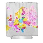 Europe Map Shower Curtain by Setsiri Silapasuwanchai