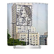 Eva Peron Outlined On The Wall Of A Skyscraper On July Nine Avenue  In Buenos Aires-argentina Shower Curtain