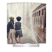 Evacuee Children On The Train Platform Shower Curtain