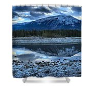 Evening At The Athabasca River Shower Curtain