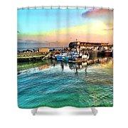 Evening Bridlington Harbour Shower Curtain