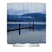 Tranquil Blue Priest Lake Shower Curtain