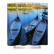 Evening Canoes At The Dock Shower Curtain