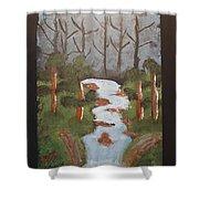 Evening Forest Waterfall Shower Curtain