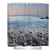 Evening Glow Over Coral And Lava Rock Shores Of Puako Shower Curtain by Charmian Vistaunet