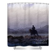 Evening Horseback Ride Shower Curtain