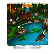 Evening In The Deep Green Forest Shower Curtain