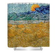 Evening Landscape With Rising Moon Shower Curtain