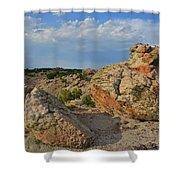 Evening Light On Boulders Of Bentonite Site Shower Curtain