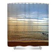 Evening Light On Shanklin Beach Shower Curtain