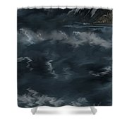 Evening Lights And Rocks Shower Curtain