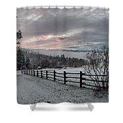 Evening Mountain Glow Shower Curtain
