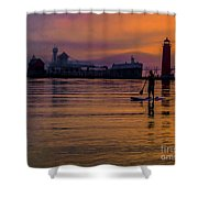 Evening On Lake Michigan At Grand Haven Shower Curtain