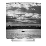 Evening On South River - Bw Shower Curtain