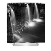 Evening Plunge Waterfall Black And White Shower Curtain
