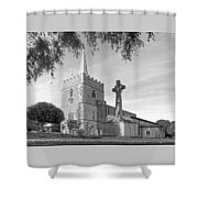 Evening Prayers In Black And White Shower Curtain