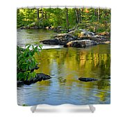 Evening Reflections At Lower Basswood Falls Shower Curtain