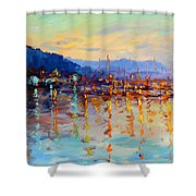 Evening Reflections In Piermont Dock Shower Curtain