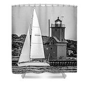 Evening Sail At Holland Light - Bw Shower Curtain