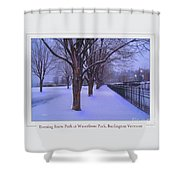 Evening Snow Path At Waterfront Park Burlington Vermont Poster Greeting Card Shower Curtain