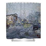 Evening Snowfall At Webster St Shower Curtain
