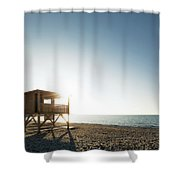 Evening Sun On Lifeguard Tower On Ostriconi Beach In Corsica Shower Curtain