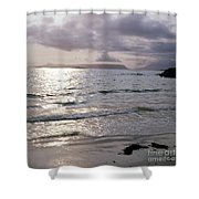 Evening The Isle Of Eigg  Inner Hebrides From The Beach At Arisaig Scotland Shower Curtain